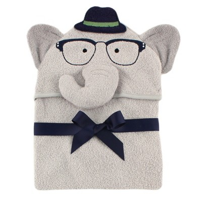 Hudson Baby Infant Boy Cotton Animal Face Hooded Towel, Smart Elephant, One Size