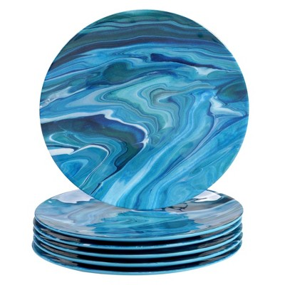 "11"" 6pk Melamine Fluidity Dinner Plates Blue - Certified International"