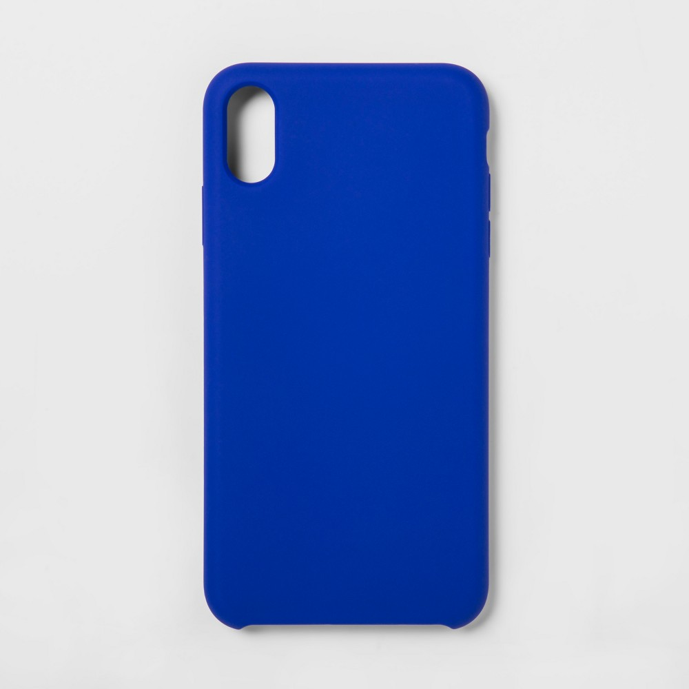 heyday Apple iPhone XS Max Silicone Case - Blue Keep your phone protected while looking sleek with this Apple iPhone XS Max Silicone Case from heyday. This iPhone XS Max case is made with durable and lightweight silicone — it easily slips onto your phone to help protect its exterior from everyday use. With a clean and simple design, this silicone iPhone XS Max case is just as functional as it is stylish. hey, you. It's time to make your day. So take a minute to live out loud, to power your look, and let your style speak volumes. Color: Blue. Pattern: Solid.