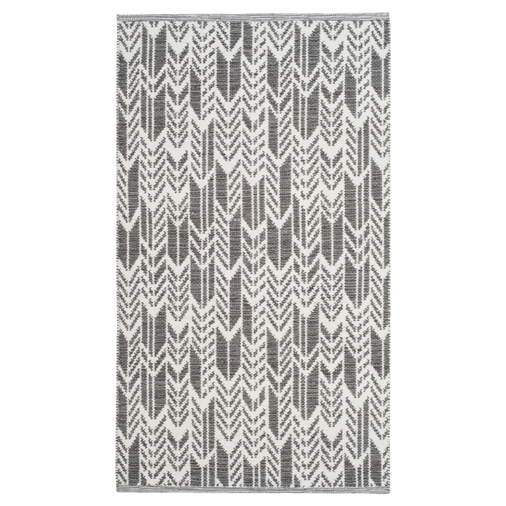 Charcoal/Ivory (Grey/Ivory) Geometric Woven Area Rug 8'X10' - Safavieh
