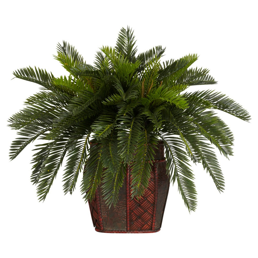 Reviews Nearly Natural Double Cycas w Vase Silk Plant