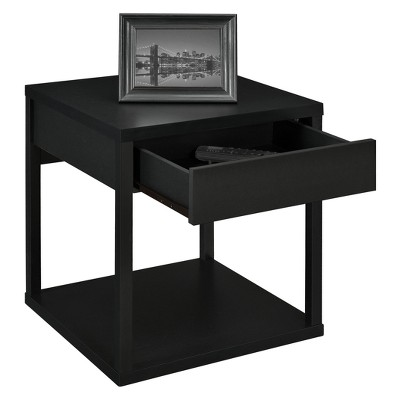 George End Table With Drawer Black - Room & Joy
