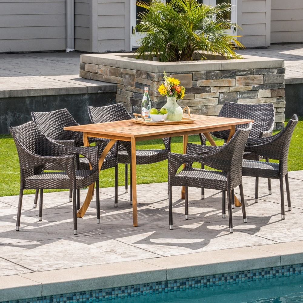 Nora 7pc Acacia & Wicker Dining Set - Teak/Brown (Brown/Brown) - Christopher Knight Home