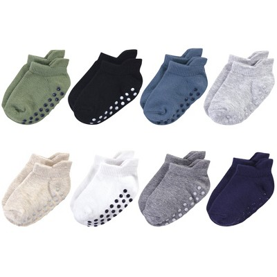 Touched by Nature Baby and Toddler Boy Organic Cotton Socks with Non-Skid Gripper for Fall Resistance, Solid Blue Black