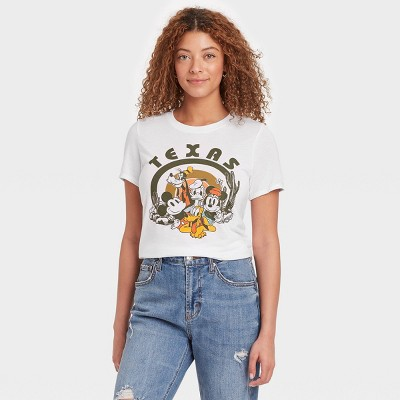 Women's Mickey and Friends Short Sleeve Desert Graphic T-Shirt - White