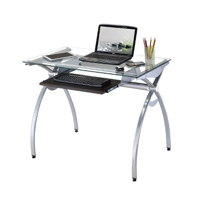 Contemporary Clear Glass Top Computer Desk with Pull Out Keyboard Panel Clear - Techni Mobili