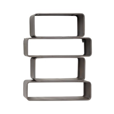 """24"""" x 32"""" Small Rectangular industrial Metal Wall Shelf with Rounded Corners and Jagged Silhouette Gray - Olivia & May"""