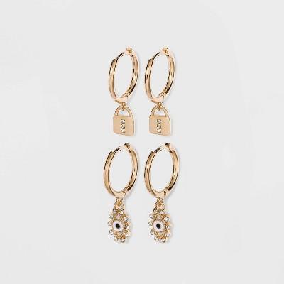 SUGARFIX by BaubleBar Charm Huggie Hoop Earring Set - Gold