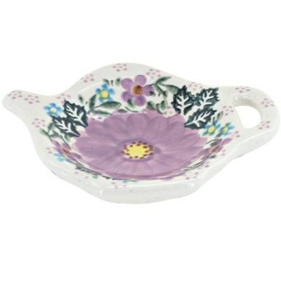 Blue Rose Polish Pottery Lilac Garden Tea Bag Holder