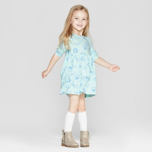 Toddler Girls' Long Sleeve Rainbow Doodle All Over Print Dress - Cat & Jack™ Aqua 4T - image 1 of 3