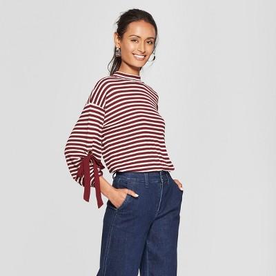 Women's Striped 3/4 Sleeve Turtleneck Blouse - 3Hearts (Juniors')Burgundy/Oatmeal S