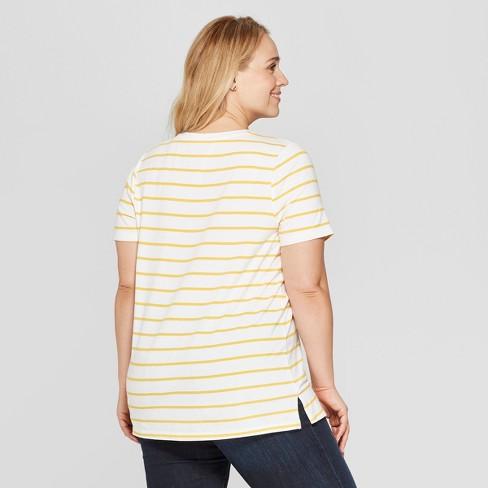 bba6bd88eea Women s Plus Size Striped Short Sleeve V-Neck Essential T-Shirt - Ava   Viv™  White Yellow   Target
