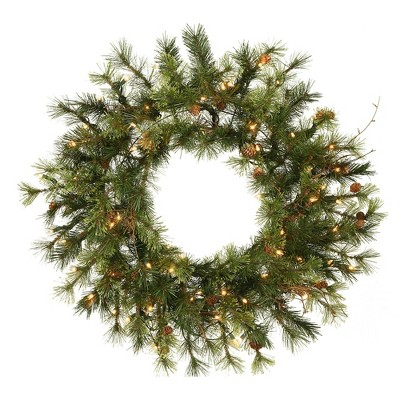 """Vickerman 24"""" Mixed Country Wreath with 50 Warm White LED Lights"""