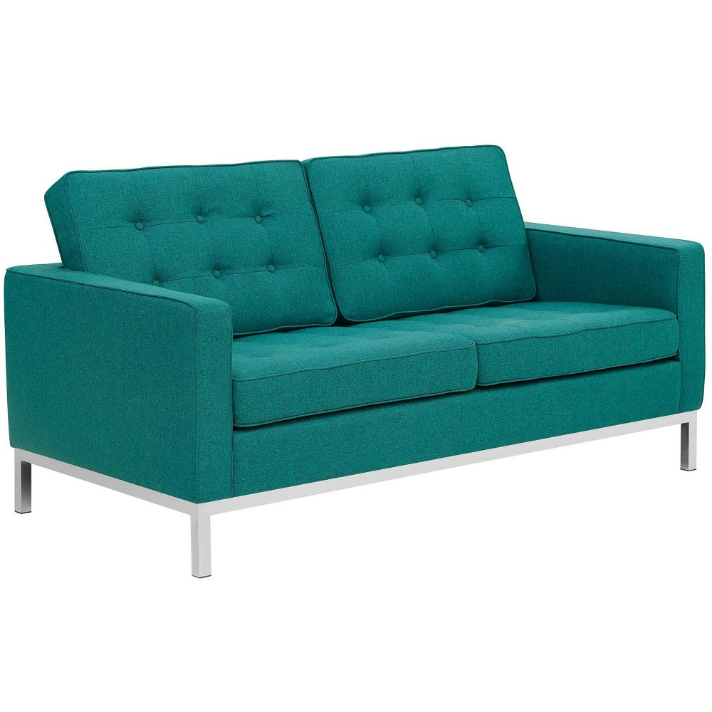 Loft Upholstered Fabric Loveseat Teal (Blue) - Modway