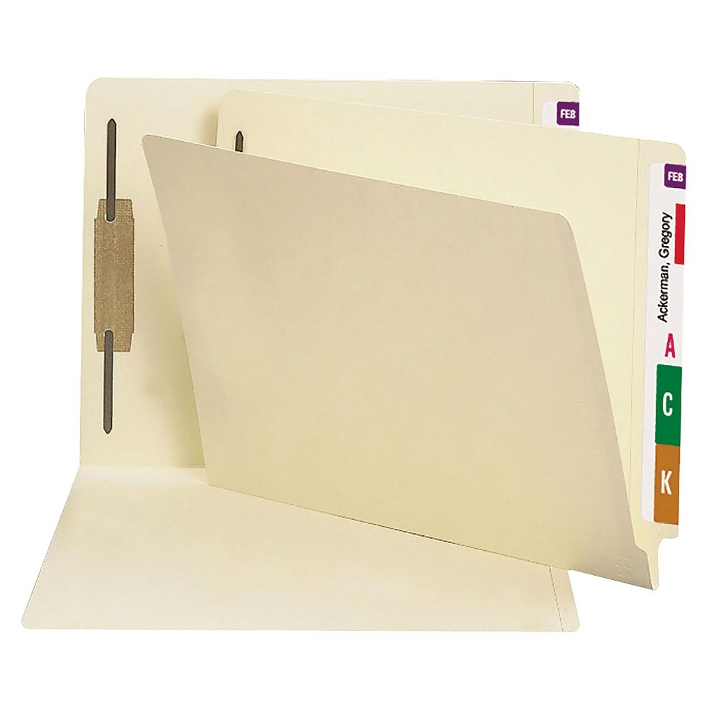 Smead 14 Point End Tab Heavyweight Letter File Folders with One Fastener- Manila (50 per Box), Off White