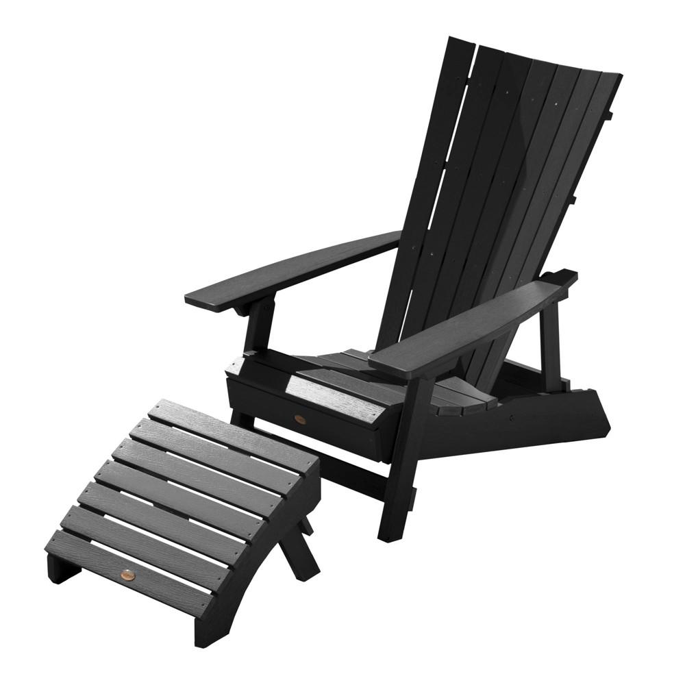 Manhattan Beach Adirondack Chair with Folding Adirondack Ottoman Black - Highwood