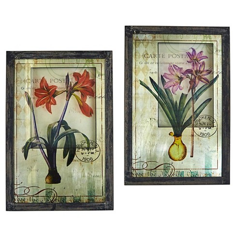 Framed French Floral Art Prints (Set of 2) - Nearly Natural - image 1 of 5