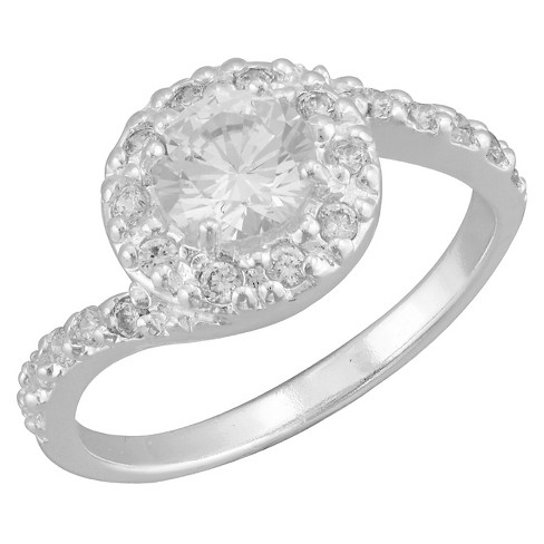 Women's Silver Plated Cubic Zirconia Halo Swirl Ring (8) - image 1 of 1