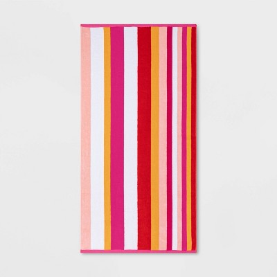 Warm Striped Sand Resistant Beach Towel Pink - Sun Squad™