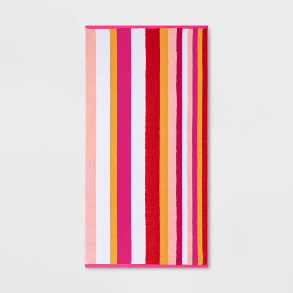 Warm Striped Sand Resistant Beach Towel Pink Sun Squad 8482