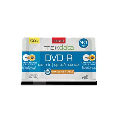 Maxell DVD-R Recordable Discs Printable 4.7GB 16x Spindle White 50/Pack 638022