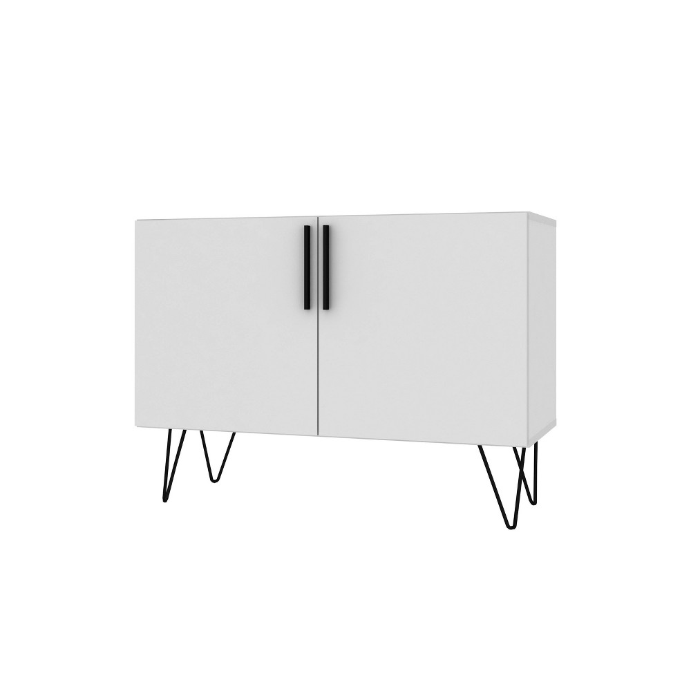 Nolita Double Side Cabinet with 4 Shelves White - Manhattan Comfort
