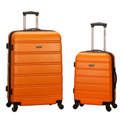 Rockland Melbourne 2pc Expandable ABS Spinner Luggage Set - Orange