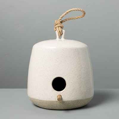 Speckled Stoneware Birdhouse with Wood Perch Sour Cream - Hearth & Hand™ with Magnolia