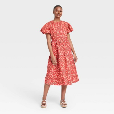 Women's Floral Print Flutter Short Sleeve A-Line Dress - Who What Wear™