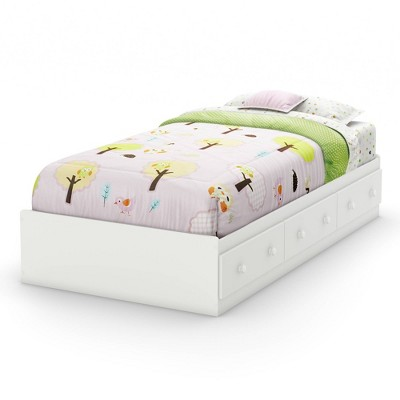 Twin Savannah Mates Bed with 3 Drawers   Pure White  - South Shore