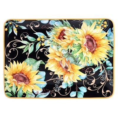 "16"" x 12"" Earthenware Sunflower Fields Serving Platter - Certified International"