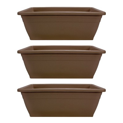 HC Companies 12-Inch Outdoor Plastic Deck Flower Planter Box, Chocolate (3 Pack)