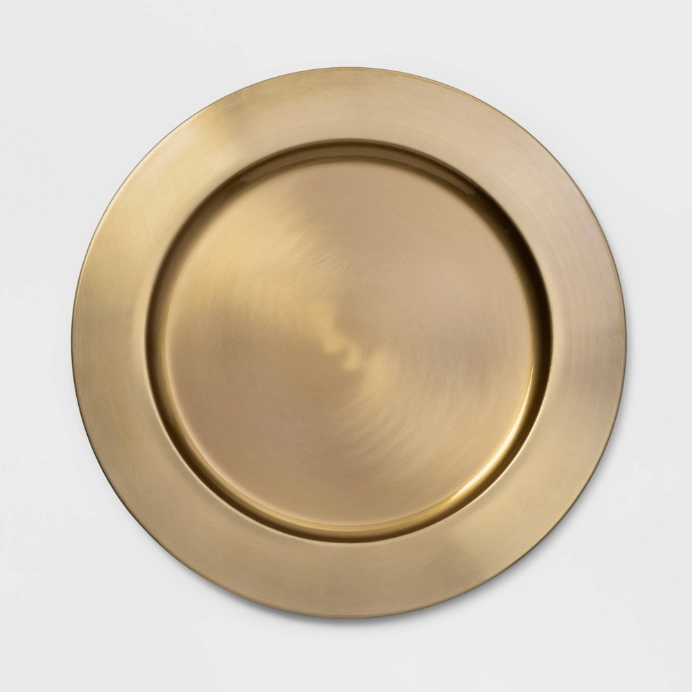 "Image of ""13"""" Stainless Steel Decorative Charger Gold - Threshold"""