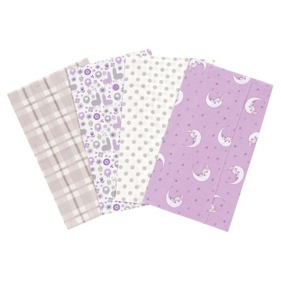 Trend Lab Llamas and Unicorns Flannel Burp Cloth Set - Purple 4pk