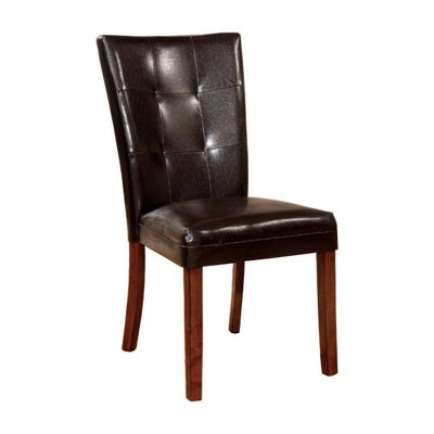 Set of 2 Contemporary Side Chairs with Dark Brown Oak Finish - Benzara