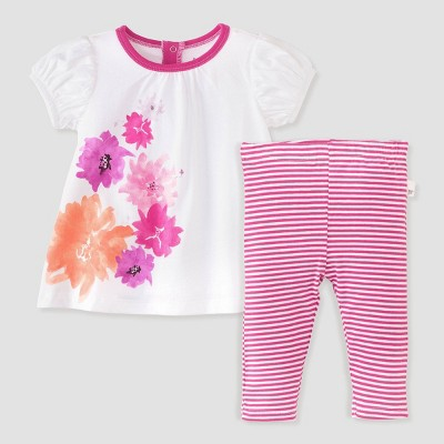 Burt's Bees Baby® Baby Girls' Watercolor Spring Tunic and Stripe Leggings Set - Pink/White 6-9M