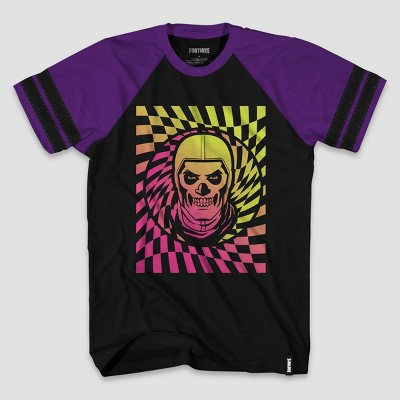Boys' Fortnite Skull Trooper Checker Spin Short Sleeve Graphic T-Shirt - Black/Purple