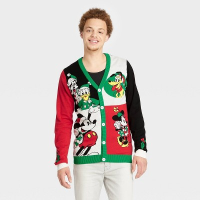Men's Disney Mickey Mouse & Friends Cardigan Sweater - White/Red/Black