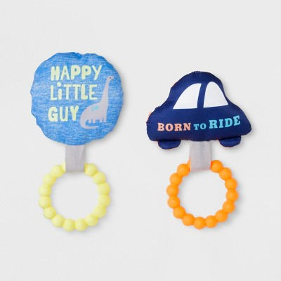 Baby Boys' 2pc Rattles with Rubber Teethers - Just One You® made by carter's Blue/Orange