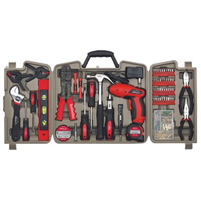 Apollo Tools 161pc Household Power Tool Kit with 4.8 Volt Rechargeable Cordless Screwdriver Red