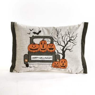 Lakeside LED Lighted Halloween Pillow with Vintage Truck and Pumpkin Motif