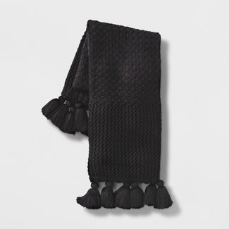 Chunky Knit Throw Blanket Black - Opalhouse™