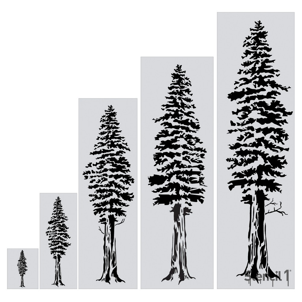 "Image of ""Stencil1 Redwood Tree - Wall Stencil 24"""" x 72"""", White"""