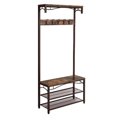 Metal Framed Coat Rack with Wooden Bench and Two Mesh Shelves Brown and Black - Benzara