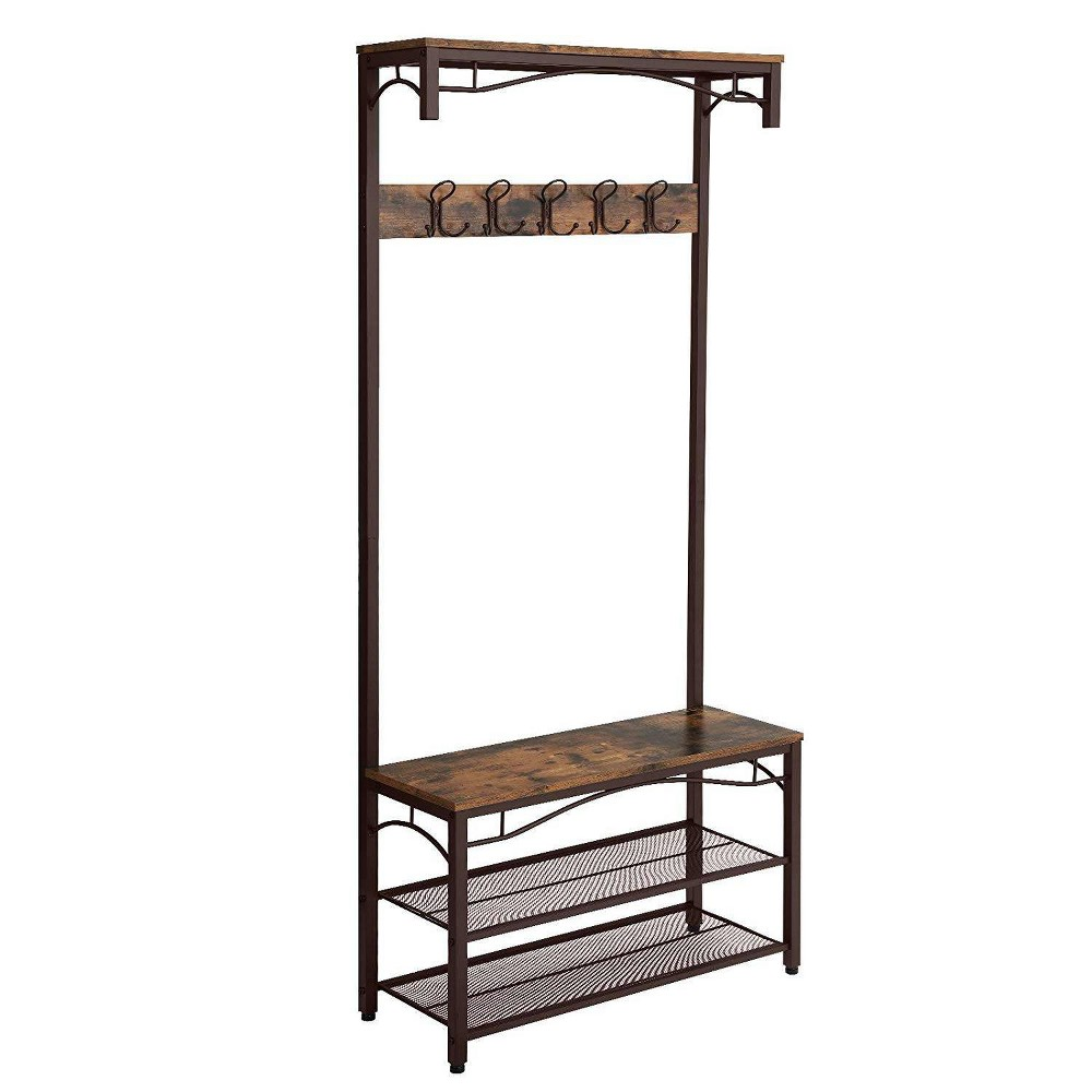 Image of Metal Framed Coat Rack with Wooden Bench and Two Mesh Shelves Brown and Black - Benzara, Black Brown