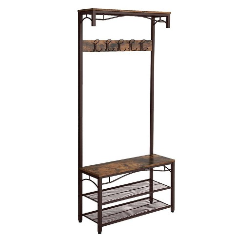 Metal Framed Coat Rack With Wooden Bench And Two Mesh Shelves