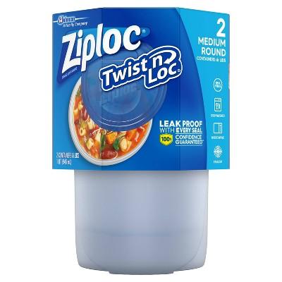 Ziploc Twist 'n Loc Container - Medium Round - 32oz/2 ct