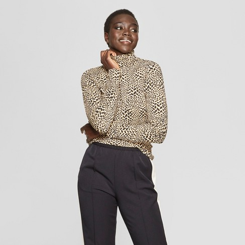 Women's Leopard Print Long Sleeve Turtle Neck - Who What Wear™ - image 1 of 3