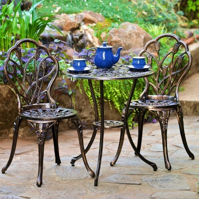 Nassau 3pc Cast Aluminum Patio Bistro Set - Christopher Knight Home