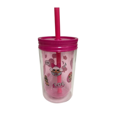 12.5oz Plastic Tumbler With Lid And Straw Pink - L.O.L. Surprise! - image 1 of 2